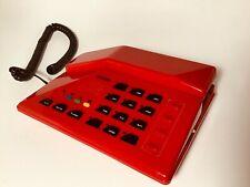 RETRO RED 1980s VINTAGE TELEPHONE BELL DESK PHONE CONTEMPORARY MODERN ANGULAR
