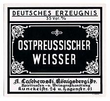 KÖNIGSBERG (Pr.)/ Kaliningrad  A. Laschewski OSTPR. WEISSER Etikett label x1213