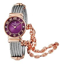 Charriol Women's St Tropez Purple Dial Steel Diamond Quartz Watch 028PAD4540566