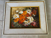 Vintage Original OIL PAINTING on Canvas Red Orange White Flowers FRAMED SIGNED