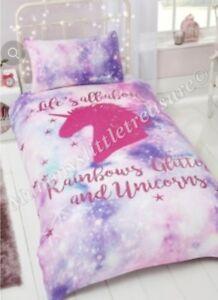 Life's All About Rainbows Glitter and Unicorns Duvet Set