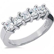 1.01 Ct, 5 Princess Cut Diamond Ring Wedding Band G Color Si1 Clarity