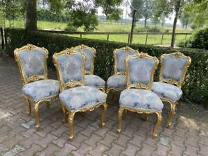Louis XVI Style 6 dining chairs - Blue Damask Gold Leaf - Made when ordered