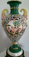 VINTAGE CAPODIMONTE ITALY PORCELAIN URN VASE/ LAMP WITH ORNATE BRASS BASE 24""