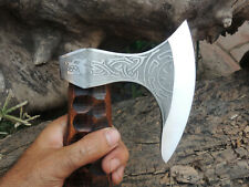 Hand Forged Beard Tomahawk Axe With Handle Texture