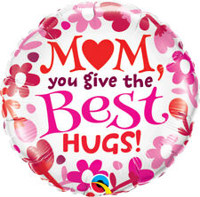 """MOTHER'S DAY PARTY SUPPLIES 18"""" MUM YOU GIVE THE BEST KISSES QUALATEX BALLOON"""