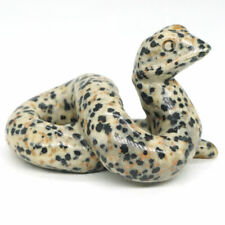 "Snake Figurine 2""Natural Stone Dalmation Spot Jasper Crystal Healing Decor 3016"