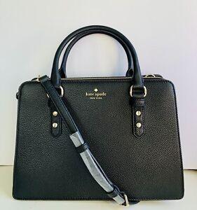 Kate Spade Black Leather Crossbody Satchel Mulberry Lise Bag NWT MSRP $398