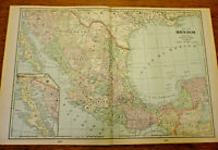 Original 1902 Map of Mexico by Cram Atlas. Antique  Vintage Mexico Map