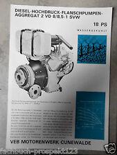 ORIGINAL PROSPEKT DDR 1972 DIESEL AGGREGAT CUNEWALDE 2 VD 8/8,5-1 SVW 18 PS
