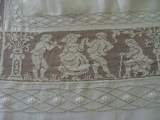 """WOW Antique Italian Linen FIGURAL Lace Tablecloth 111"""" Bedspread Hand MADE Embr"""