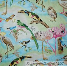 Boneful Stoff FQ Baumwolle Quilt blau Scenic Vogel Ente Eule FLAMINGO Florida Beach