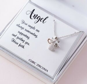 Silver Expressions Cubic Zirconia Angel Pendant Silver Plated Necklace