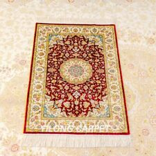 Yilong Luxury Hand Knotted Area Rugs Sitting Room Handmade Silk Carpet