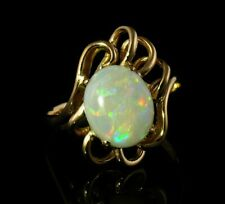 VINTAGE ESTATE FINE NATURAL 3.0ct AUSTRALIAN OPAL SOLID 14K YELLOW GOLD RING