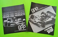 2 Diff 1970's GRAND PRIX PRODUCTS MERCHANDISE BROCHURES Lotus FERRARI McLaren