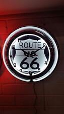 "ROUTE 66 19"" Double Neon Wall Clock  # MCG-0012-L"
