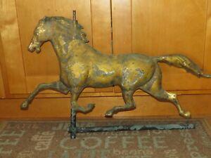 Original  Antique Horse Weather vane Copper W original gold gilt as found