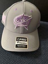 Columbus Blue Jackets Hockey Fights Cancer Adjustable Hat by Fanatics NEW