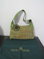 Authentic Paolo Masi Green Leather whool Hobo Hand Bag Flower Italy