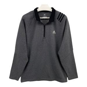 Adidas Golf Mens Size Large 1/4 Zip Gray 3 stripe Sleeve Pullover Jacket Sweater