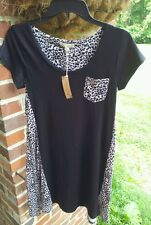 Women's Leopard/Black Small Babydoll Chemise *NWT* Body Touch Lounge
