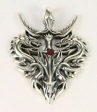 GARNET GUARDIAN EMPIRE DRAGON SOLID STERLING SILVER MENS PENDANT FOR CHAIN NEW