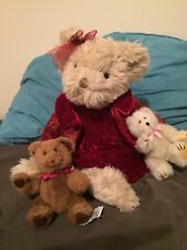 """Annabelle Teddy Bear 11"""" sitting plush Russ 259 plus 2 Boyds Collection Jointed"""