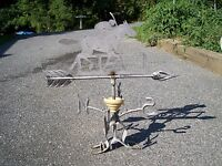 RUNNING HORSE with JOCKEY at FENCE ANTIQUE LIGHTING ROD WEATHER VANE   #2