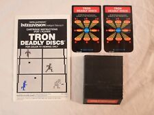 Tested ! Tron Deadly Discs *Intellivision Disney *Cart Manual & 2 Overlays Only*