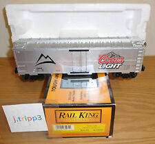 MTH 30-7044A COORS LIGHT BEER MODERN REEFER O GAUGE TOY TRAIN CAR SILVER BULLET