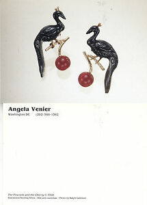 THE PEACOCK & THE CHERRY BY ANGELA VENIER UNUSED ADVERTISING POSTCARD