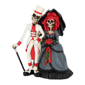 Bride & Groom Gothic Wedding Skeleton Figurine Ornaments 'Forever By Your Side'