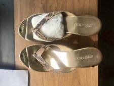 Jimmy Choo 36 6 M Leather Cork Wedge Heels   Golden Toe Net A Porter With Box