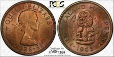 New listing 1965 New Zealand Half Penny Pcgs Ms66Rb Toned Coin Pop 1 Only 1 Graded Higher