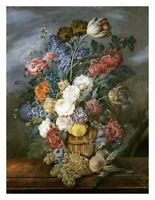 "A Still Life of Mixed Flowers In a Vase on a Stone Ledge-Paper Art-25""x32"""
