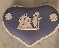 Beautiful Blue Wedgewood Jasperware Blue Heart Shaped Trinket Box 1953