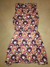 BNIP Boden Ladies Brown/Pink Summer Dress - Size 14