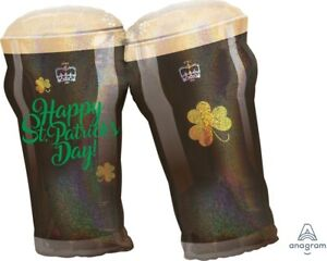 """Lot of 3 Happy St Patrick's day Beer Pint Glass Foil Supershape Balloons 26x28"""""""