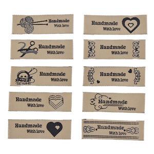 etiquetas de color azul Etiquetas de tela de letras hechas a mano Etiquetas lavables de bordado para bolsas de ropa Accesorios de costura de bricolaje
