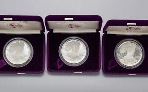 1986, 1987 & 1988 American Eagle One Ounce $1 Dollar Silver Proof Coins COA