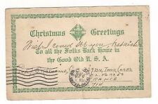 1919 US Army PO Knights of Columbus Soldiers Green WWI Greeting Undeliverable