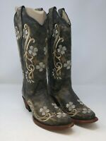 Circle G Women's Black/Multi Floral Embroidery Boots Size 6 US