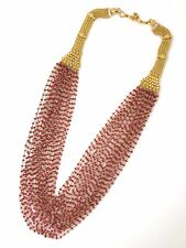 Ruby Bead Chain Multistrand Necklace in 21k Yellow Gold 22 inches  - HM1917BR