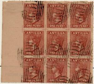 ANTIGUA: Victoria 1d Lake-Brown 'Used' Block of 9 - Spiro Forgeries (42758)
