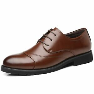 Oxford for Men Business Office Shoes Vegan Leather Lace up Cap Round Toe Office