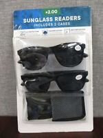 New Eyewear Ltd. 2 pack Men's Invisible Seam Bifocal Sunglass Readers  +2.00