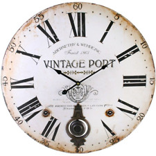 Antique Wooden Round Wall Clock Vintage Shabby Chic Pendulum 60cm Large