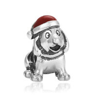 Fine Christmas Dog Red Paint Macroporous Charms Bead For sterling Bracelet Chain