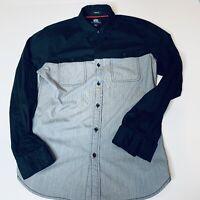 Rock Republic Mens Long Sleeve Button Up Shirt Black Gray Sz S Rolled Stretch